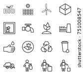 thin line icon set   bio  sun... | Shutterstock .eps vector #751008547