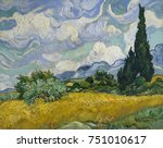 Wheat Field With Cypresses  By...