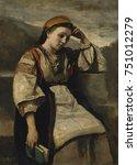 reverie  by camille corot  1860 ... | Shutterstock . vector #751012279