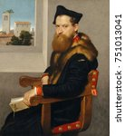 BARTOLOMMEO BONGHI, by Giovanni Battista Moroni, 1553, Italian Renaissance oil painting. Bonghi was a legal scholar and is holding a book on Roman civil law. Through the window is a recognizable tower