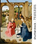 the nativity  by gerard david ... | Shutterstock . vector #751013101