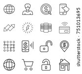thin line icon set   globe ... | Shutterstock .eps vector #751013695