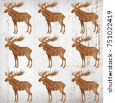 elks on a white wood background | Shutterstock . vector #751022419