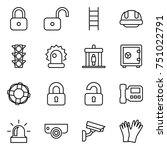 thin line icon set   lock ... | Shutterstock .eps vector #751022791