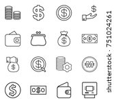 thin line icon set   coin stack ... | Shutterstock .eps vector #751024261