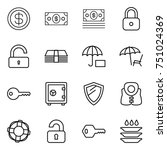 thin line icon set   dollar ... | Shutterstock .eps vector #751024369