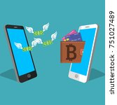 vector digital bitcoin mobile... | Shutterstock .eps vector #751027489