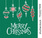 christmas greeting card with... | Shutterstock .eps vector #751027999