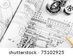 indastrial drawing detail and... | Shutterstock . vector #75102925