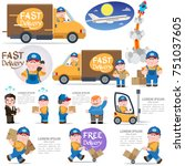 fast delivery sticker set with... | Shutterstock .eps vector #751037605