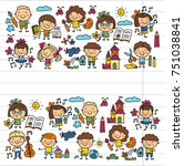 kindergarten school education... | Shutterstock .eps vector #751038841