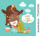 christmas card with santa claus ... | Shutterstock .eps vector #751042381