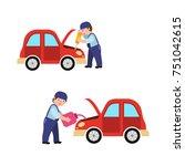 auto mechanic fixing car engine ...   Shutterstock .eps vector #751042615