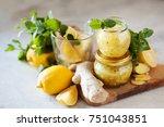 homemade lemon  ginger and mint ... | Shutterstock . vector #751043851