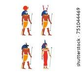 vector flat egypt gods  goddess ... | Shutterstock .eps vector #751044469
