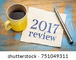 2017 review text on a napkin...   Shutterstock . vector #751049311