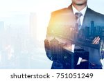 businessman leader with arms... | Shutterstock . vector #751051249