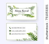 floral business card design.... | Shutterstock .eps vector #751053301