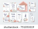 Stock vector wedding invite invitation menu thank you rsvp label card vector floral design with pink peach 751053319