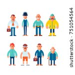 big set of characters in flat... | Shutterstock .eps vector #751054564