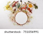 spices and herbs. a large... | Shutterstock . vector #751056991