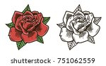 red roses hand drawn vector... | Shutterstock .eps vector #751062559