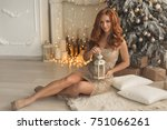 gorgeous ginger woman in gold... | Shutterstock . vector #751066261