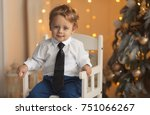 happy little boy sitting near... | Shutterstock . vector #751066267
