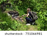 girl with tactical backpack... | Shutterstock . vector #751066981