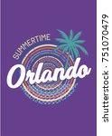 orlando summertime circle palm... | Shutterstock .eps vector #751070479