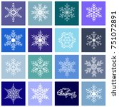 set of christmas snowflakes.... | Shutterstock .eps vector #751072891