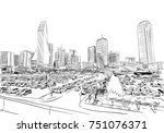 dallas. texas. usa. hand drawn.... | Shutterstock .eps vector #751076371