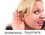 hearing woman   Shutterstock . vector #751077679