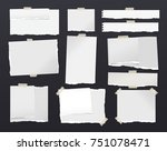 white ripped notebook paper... | Shutterstock .eps vector #751078471