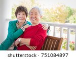 happy senior adult chinese... | Shutterstock . vector #751084897