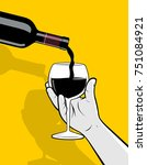 bottle pouring red wine into... | Shutterstock .eps vector #751084921