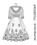 hand drawn dress. sketch for... | Shutterstock .eps vector #751085569