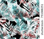 watercolor seamless pattern... | Shutterstock . vector #751088251