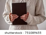 woman holding book. female with ... | Shutterstock . vector #751089655