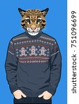 portrait of a wild cat in a... | Shutterstock .eps vector #751096699