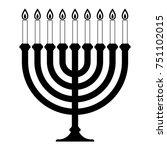 menorah for hanukkah.... | Shutterstock .eps vector #751102015