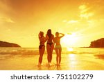 three young beautiful girls on... | Shutterstock . vector #751102279