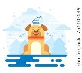 dog new year 2018 flat design   Shutterstock .eps vector #751102549