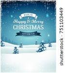 vintage christmas landscape... | Shutterstock .eps vector #751103449