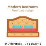 single colorful bed with... | Shutterstock .eps vector #751103941