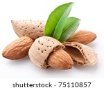 group of almond nuts with... | Shutterstock . vector #75110857