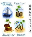 set of vacation illustrations | Shutterstock . vector #75111040