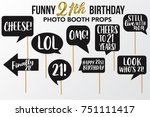 set of funny twenty one... | Shutterstock .eps vector #751111417