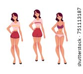 young slim woman  girl in... | Shutterstock .eps vector #751113187