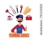 vector cartoon man blumber in... | Shutterstock .eps vector #751113325